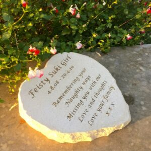 Limestone Pet Memorial Heart for Suki