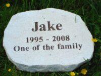 Limestone rustic oval pet memorial