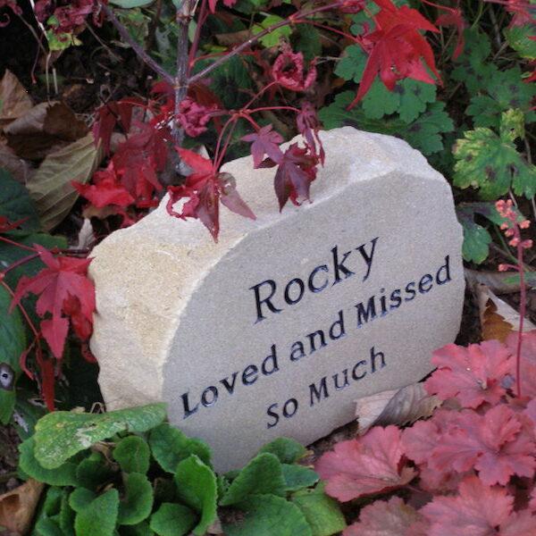 pet memorial sand stone garden boulder