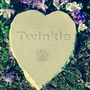 Limestone Pet Memorial Heart for Twinkle