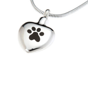 pet ashes heart with paw print