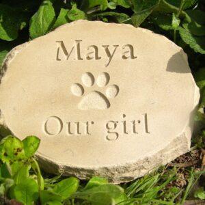 rustic sandstone oval pet memorial