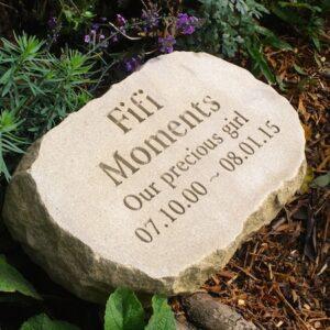 sandstone oval pet memorial for Fifi m
