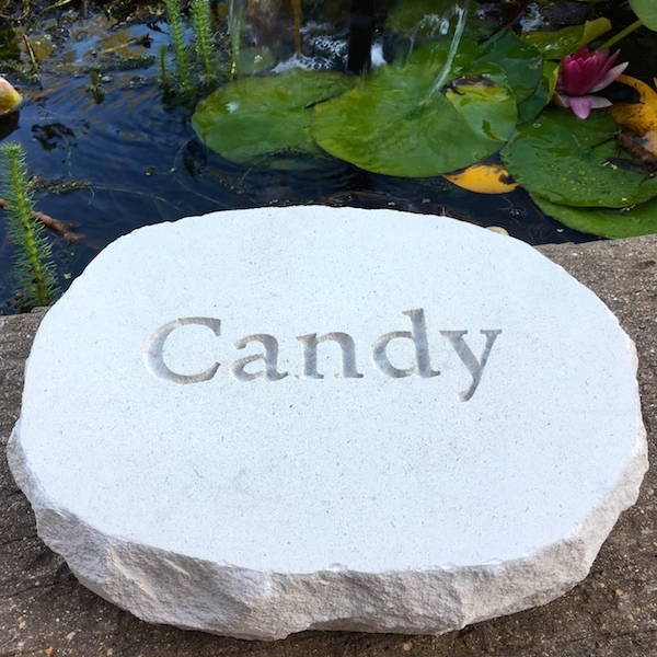 pet memorials in stone for the garden. A limestone pet memorial plaque for Candy