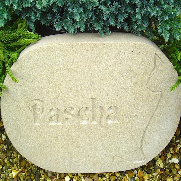 Pet Memorials in Stone for the Garden. A Sandstone Pet Memorial Plaque for Pascha