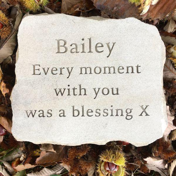 Pet Memorials in Stone for the Garden. A Sandstone Pet Memorial Plaque for Bailey