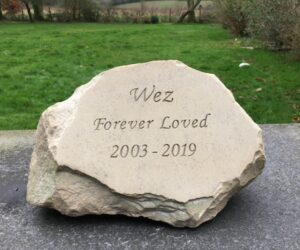 pet memorial sandstone boulder for wez - perfect in the garden