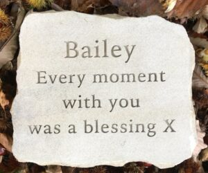 sandstone stepping stone pet memorial for Bailey