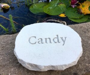 rustic limestone pet memorial oval with unpainted letters by pond for candy