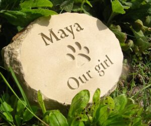 natural sandstone oval pet memorial with paw print motif for maya