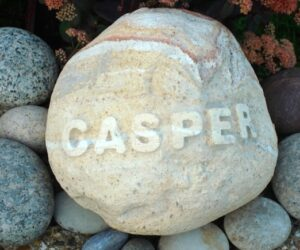 rainbow cobble pet memorial for casper with letters in relief