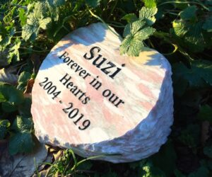 rose marble pet memorial heart for suzi