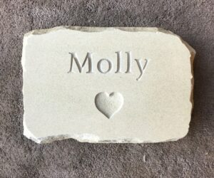 rustic pet memorial tablet in sandstone with heart motif for molly