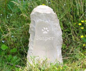 sandstone column pet memorial with pawprint motif and all unpainted for jasper in the wildflower garden
