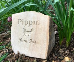 sandstone pet memorial boulder with collie dog motif for pippin