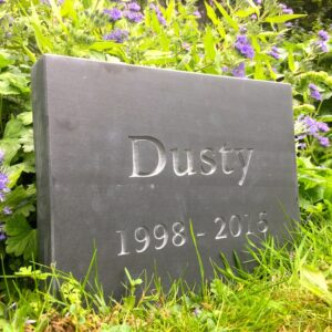 Slate Pet Memorial Tablet for Dusty in the Garden