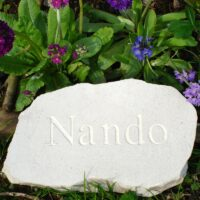 Limestone Cloud Plaque Pet Memorial for Nando amongst Primroses