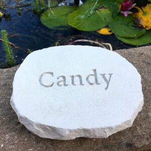 Limestone Pet Memorial Plaque for Coco by the Pond