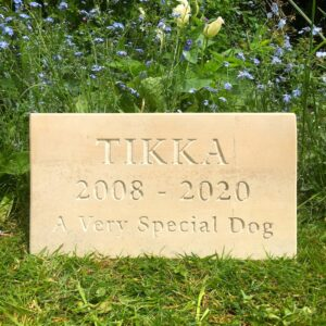 Limestone Pet Memorial Tablet for Tikka in the Garden front