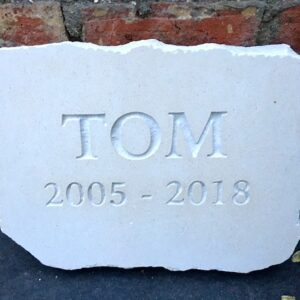 Limestone Pet Memorial Tablet for Tom with Natural Edges