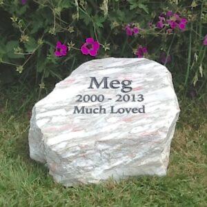 Marble Pet Memorial Boulder in Rose Marble for Meg in the Garden