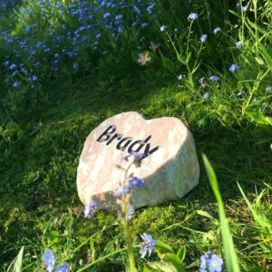 Marble Pet Memorial Heart for Brady amongst the Forget Me Nots