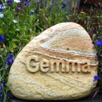 Pet Memorial Cobble for Gemma with Letters in Relief