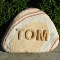 Pet Memorial Cobble for Tom with Letters in Relief