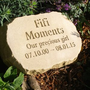 Sandstone Pet Memorial Plaque for Fifi Moments in the Garden