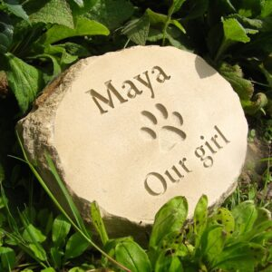 Sandstone Pet Memorial Plaque with Paw Print for Maya