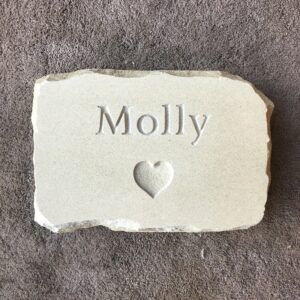 Sandstone Pet Memorial Tablet for Molly with Heart Motif