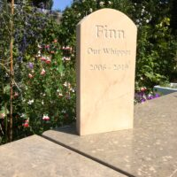 Standing Stone Pet Memorial with Curved Top (5 cm thick) for Finn