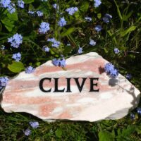 Rose Marble Cloud Plaque for Clive in the Garden amongst the Forget-Me-nots