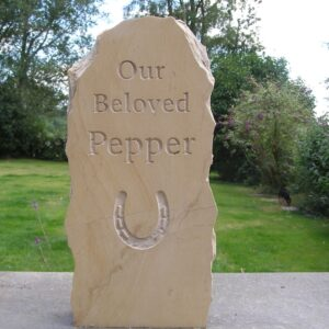 Rustic Limestone Pet Memorial with Horse Shoe Motif for Pepper