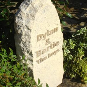 Rustic Limestone Pet Memorial with Letters in Relief for Cats Dylan and Bertie