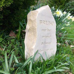 Sandstone Column Pet Memorial for Bruno in Springtime