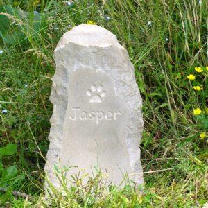 Sandstone Column Pet Memorial with Paw Print Motif for Jasper in Wild Flower Garden