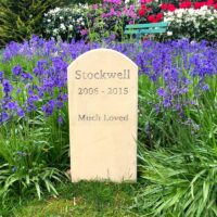 Standing Stone Pet Memorial 5 cms Thick with Curved Top for Stockwell