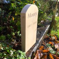 Standing Stone Pet Memorial for Monty in the Garden 5 cm thick. Curved Top