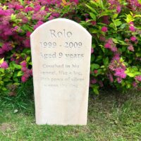 Standing Stone Pet Memorial (5 cm thick) with Curved Top for Rolo with Poem in the Garden