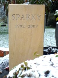 Standing Stone Pet Memorial for Sparky in the Snow. 5 cm thick with Square Top
