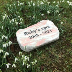 Rose Marble Oval Plaque for Ruby in the Garden amongst the Snow Drops