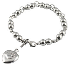 pet ashes heart and pawprint bracelet